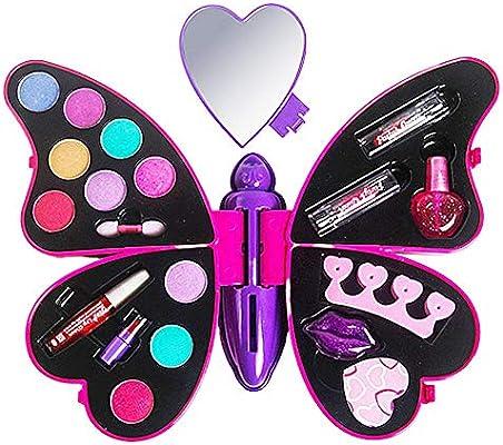 equival Set De Maquillaje para Niña Estuche De Maquillaje Kits De Paleta De Maquillaje para Niña Caja De Regalo De Mariposa Cosmética Fashionable: Amazon.es: Hogar