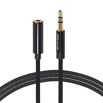 Macho a Hembra 2 Metros Cablepelado/® Cable de extensi/ón alargador de Auriculares con micr/ófono Mini Jack 3.5 mm 4 Pines