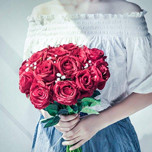 10pcs Artificial Rose Silk Flower Blossom Bridal Bouquet for Wedding Home Decor