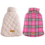 #2: Kuoser Cozy Waterproof Windproof Reversible British Style Plaid Dog Vest Winter Coat Warm Dog Apparel Cold Weather Dog Jacket Small Medium Large Dogs Furry Collar (XS - 3XL) Pink M