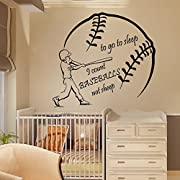 N.SunForest Sport Boy Wall Decals Wall Words to Go to Sleep I Count Baseballs Not Sheep Home Art Vinyl Decal Sticker Kids Nursery Baby Room Decor