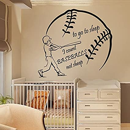 618a666ce332a N.SunForest Sport Boy Wall Decals Wall Words to Go to Sleep I Count  Baseballs Not Sheep Home Art Vinyl Decal Sticker Kids Nursery Baby Room  Decor