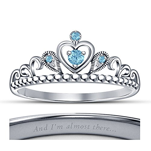 tusakha Lovely Round Cut Blue Topaz 14K White Gold Plated Jasmine Princess Heart Shape Crown Engagement Ring - Princess Jasmine Heart