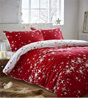 bf98bd9bbb75 Homemaker Brushed cotton duvet cover bed sets galaxy stars flannelette  reversible bedding (Red,Double