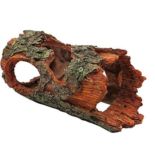 Petforu Reptiles Hide, Tree Bark Pet Habitat Décor Hideouts Cave Aquarium Décor Ornaments by Petforu