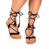 Dream Pairs Sammy New Women Fashion Crisscross Lace Up Summer Gladiator Design Flat Sandals Black Size 9   amazon.com