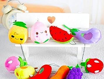Efbock colgante de teléfono de peluche frutas y verduras 2pcs