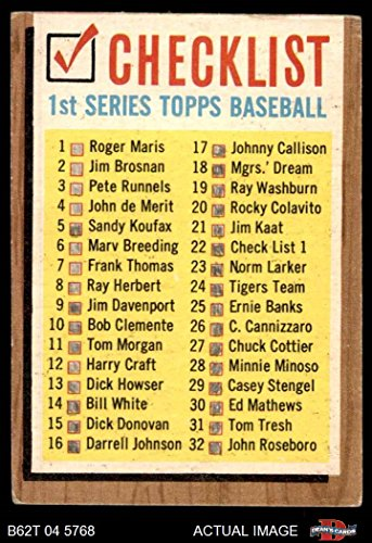 1962 Topps # 22 COR Checklist 1 (Baseball Card) (Lists Cards 33 to 88 on the Back) Dean's Cards 1.5 - FAIR