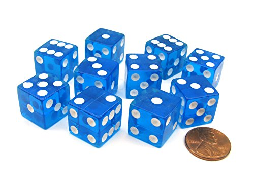 16mm d6 Blue Translucent Square Edge Dice with Pips