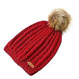 Challyhope Kids Slouchy Winter Knit Beanie Hats Faux Fur Pom Pom Hat Bobble Hat Ski Caps(Wine Red, Free)