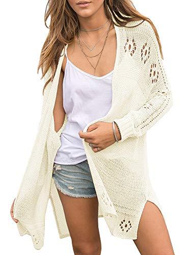 Yacooh Womens Boho Crochet Knit Cardigans Sheer Lightweigh Open Front Long Sleeve Kimono Baggy Sweater Beige