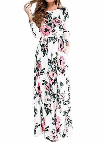 Wearlove Women's Floral Print Round Neck Sleeveless Long Maxi Casual Dress (Small, white3)