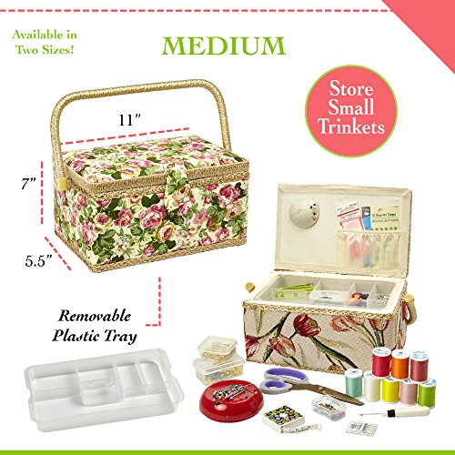 "Sewing Basket with Rose Floral Print Design- Sewing Kit Storage Box with Removable Tray, Built-in Pin Cushion and Interior Pocket - Medium - 11"" x 7"" x 5.5"" - by Adolfo Design"