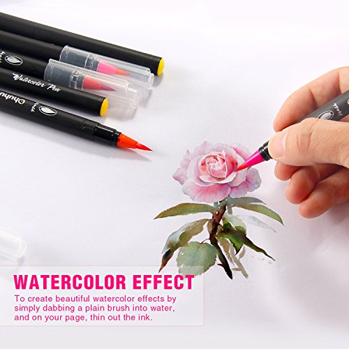 Watercolor Brush Markers Pen, Ohuhu 20 Colors Water Based Drawing Marker Brushes W/A Water Coloring Brush, Water Colored Ink W/Soft Flexible Tip for Adult Coloring Books, Manga, Comic, Calligraphy by Ohuhu (Image #1)