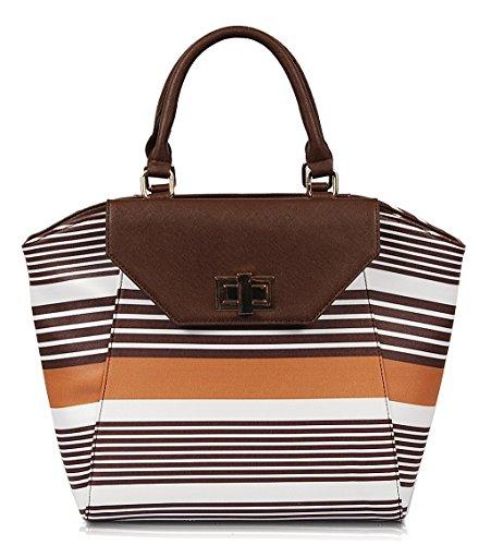 Eris Striped Satchel (brown) Sp1070br