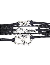 ArRord Handmade Leather Double Hearts Direction 1D Infinity Charm Bracelets