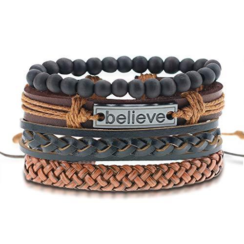 AIGE-Store Leather Bracelet for Men Women Beaded Layered Woven Cuff Bracelet Adjustable