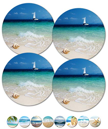 Drink Spills Coasters, Beach Themed Coasters, Sailboat Coaster, Housewarming Hostess Gifts, Wedding Registry, Cool Gift Ideas, Set of 4 No Holder (12359 Sailboat at Sea)