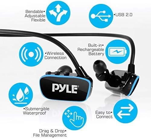 Komfortabler Schaumstoffst/öpsel Wiederaufladbar USB Gym-Trainieren Joggen Pyle Flextreme PSWP14BK 8GB MP3-Player und Sports Wasserdicht Headset f/ür Unterwasser Schwimmen