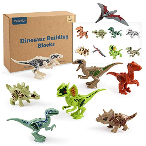 Beebeerun 8pcs Dinosaur Figure Toys STEM Building Blocks Toys with Movable Jaws and Unique Stickers Best Toys Gifts for 3 4 5 6 7 Years Old Kids Boys Girls