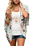 #3: Chunoy Women Casual Floral Short Sleeve Chiffon Kimono Shawl Blouse Top
