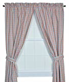 Charlestown Check 68-Inch by 84-Inch Tailored Panel Pair Curtains with Tiebacks, Patriot Review