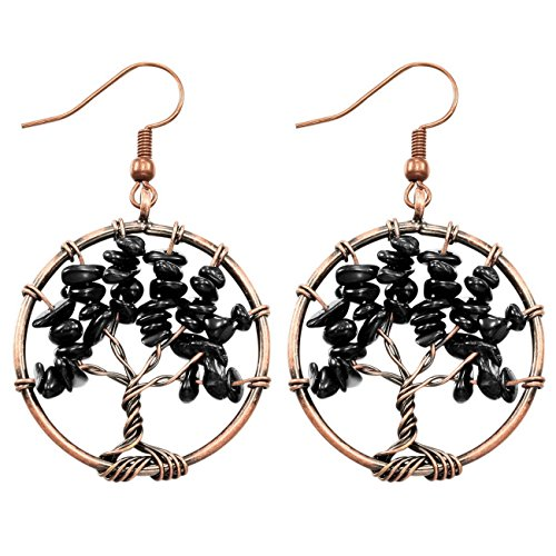 MOWOM Copper Dangle Earrings Simulated Agate Black Tree Of Life Chakra ()