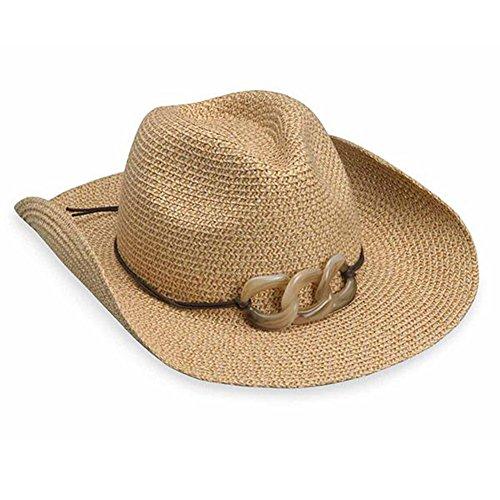 Wallaroo Women's Sierra Sun Hat - 100% Paper Braid Cowboy Hat - UPF50+, Natural (Wild Wild West Outfit)