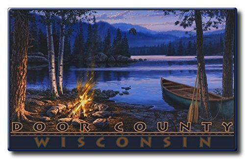 Door County Wisconsin Lake Canoe Fire Aluminum HD Metal Wall Art by Artist Darrell Bush (18 x 28.8 inch) Art Print for Bedroom, Living Room, Kitchen, Family and Dorm Room - West County Mall
