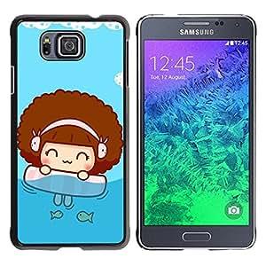 LECELL -- Funda protectora / Cubierta / Piel For Samsung GALAXY ALPHA G850 -- Cute Beach Girl --