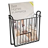 mDesign Decorative Modern Wall Mount Magazine Holder, Organizer - Space Saving Compact Rack for Magazines, Books, Newspapers, Tablets, Laptops in Bathroom, Family Room, Office - Wire, Matte Black