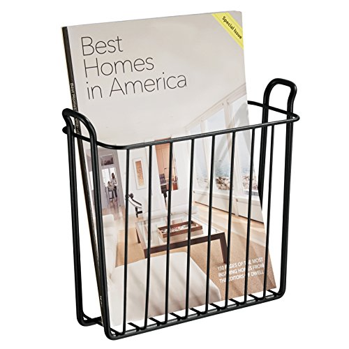 mDesign Wall Mount Newspaper and Magazine Rack for Bathroom - Matte Black