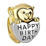 Pugster Monkey Holding Heart Love Happy Birthday Charm Beads