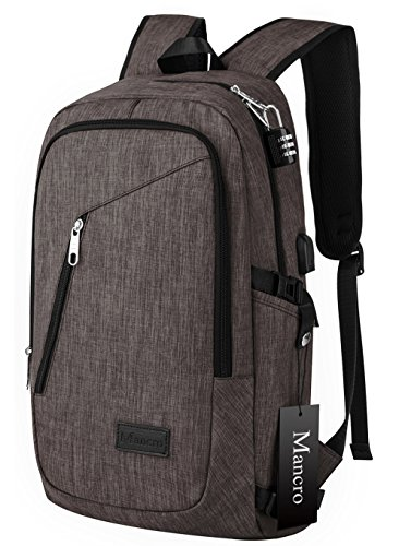 Best Buy! Business Laptop Backpack, Mancro 15 15.6 Inch College Backpacks w/ USB Charging Port, Anti...