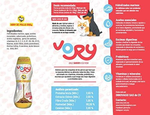 Vory delicioso aderezo para las croquetas de tu perro, complemento alimenticio, utilízalo también como premio, le ayudara a mejorar su digestión, las vitaminas y probioticos que necesita (Mixto, 1 Res + 1 Pollo + 1 Salmón) 5