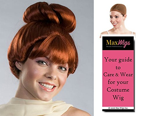 Wilma color AUBURN - Enigma Wigs Cartoon Wife Flinstone Caveman Bundle w/Cap, MaxWigs Costume Wig Care -