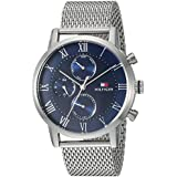 Tommy Hilfiger Men's Sophisticated Sport Quartz Watch with Stainless-Steel Strap, Silver, 22 (Model: 1791398)
