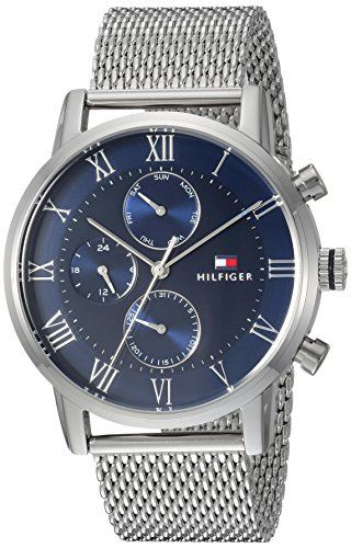 Tommy Hilfiger Men's Sophisticated Sport Quartz Watch with Stainless-Steel Strap, Silver, 22 (Model: 1791398