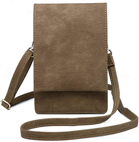 Shomico Women Small Crossbody Purse Cell Phone Pouch Wallet Shoulder Bag For 6 Inches (Khaki)