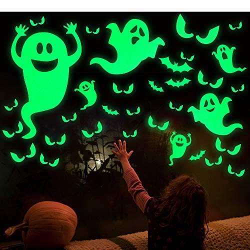 LUDILO 35Pcs Halloween Party Decorations Halloween Decals Wall Stickers Halloween Glow Stickers Glow in The Dark Stickers Bats Luminous Ghost Peeping Eyes Halloween Decor for Kids Room -