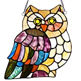 11''H Stained Glass Hoot's Owl Window Panel