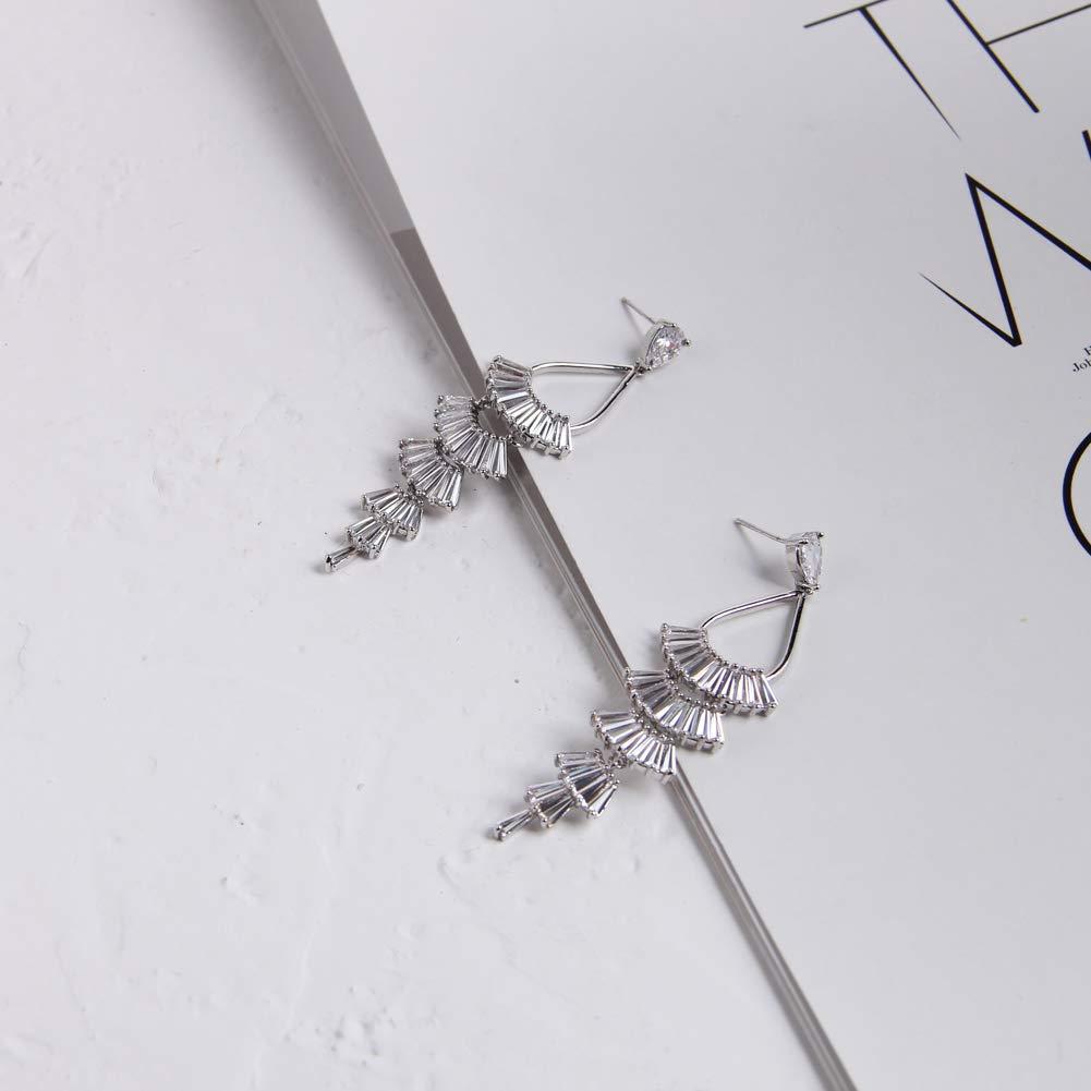 YESLADY Fan Tassel Drop Earrings CZ Statement Dangle Earrings Long Semi Gawdy Earring