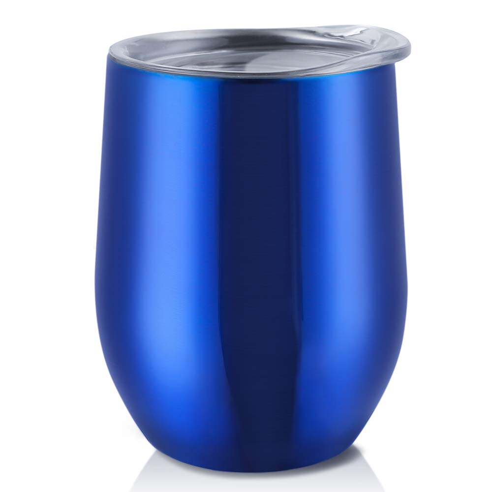 Antner 12 oz Stemless Wine Glass Tumbler Double-insulated Stainless Steel Wine Cup with Press-In Lid Home Office Tumbler Cup for Wine Coffee Drinks Champagne and Cocktails, Blue