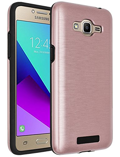 Galaxy J2 Prime Case,Galaxy Grand Prime Plus Case,(TM)[Metal Brushed Texture] Impact Resistant Heavy Duty Hybrid Dual Layer Shockproof Protective Cover Shell For Samsung Galaxy J2 Prime Rose Gold