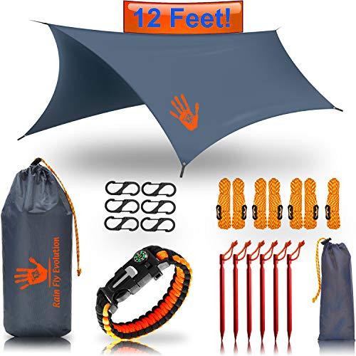 ( RainFlyEVOLUTION 12 x 10 ft HAMMOCK WATERPROOF RAIN FLY TENT TARP & Survival Bracelet Kit – Lightweight - Backpacker Approved - DIAMOND RIPSTOP NYLON - Perfect Hammock Shelter Sunshade for Camping  )