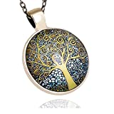 G&T Time Gemstone Pendant Retro Wolf Mechanical Gear the Tree of Life Pendant Necklace