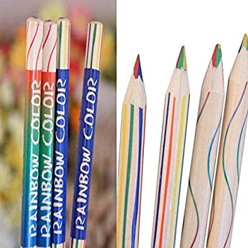 Starworld6 Starworld 10 Pieces Rainbow Colour Pencil 4 In 1 Coloured Drawing Painting Pencils Amazon In Office Products