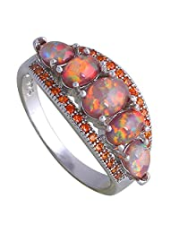 Fashion Garnet Brown Fire Opal 925 Sterling Silver Ring Gift Party Wedding Oval Opal Rings for Women R270