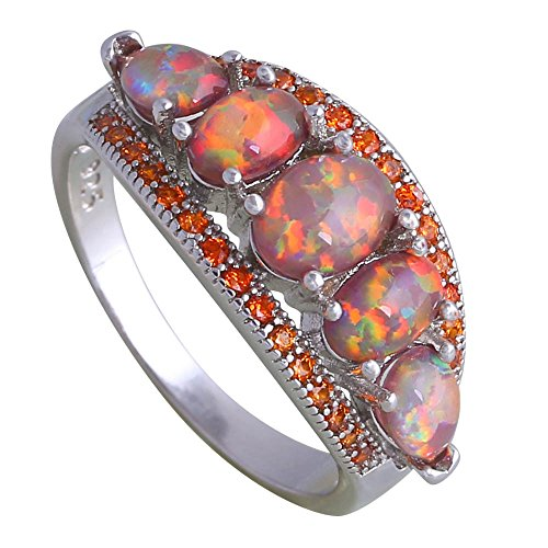 Fashion Garnet Brown Fire Opal 925 Sterling Silver Ring Gift Party Wedding Oval Opal Rings for Women R270 (9)