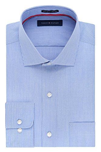 Tommy Hilfiger Stripe Shirt - Tommy Hilfiger Men's Regular Fit Non Iron Fine Line Stripe, Stream, 15.5/34-35